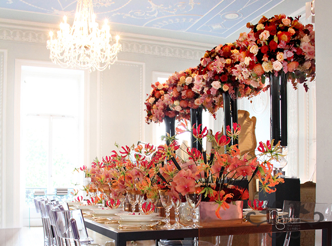 lush floral design for dinner party by Neill Strain, London Floral Designer