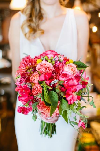 Floressence, coral pink bridal bouquet