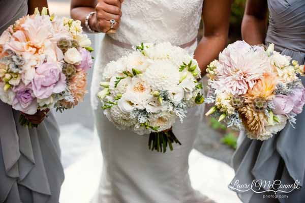 Floressence, white bridal bouquet of roses peonies and dusty miller