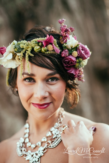 Floressence, pink and green flower crown