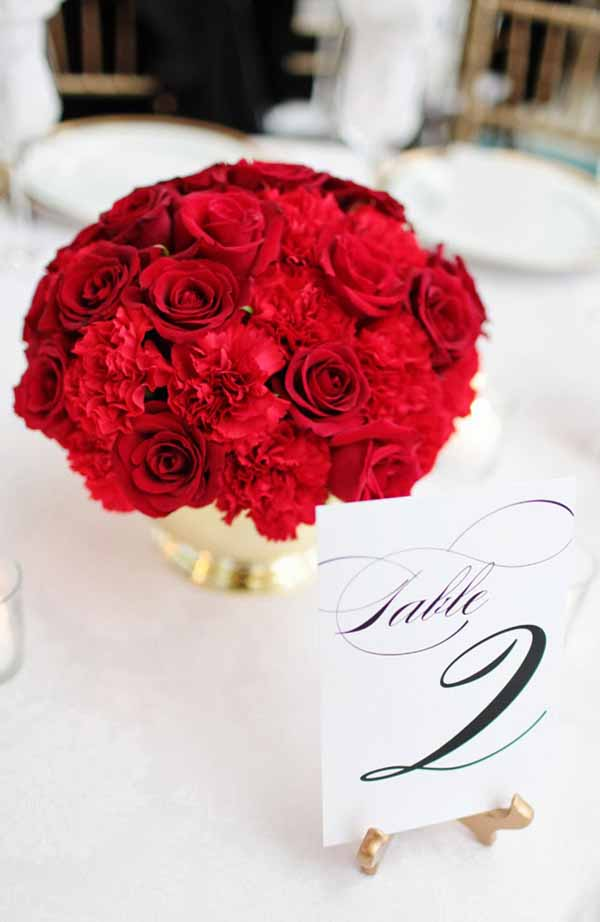 Bella Fiori Red Rose and carnation centerpiece with gold container