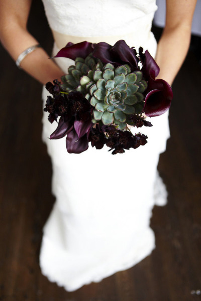 Blush Designs, succulent and purple calla bouquet
