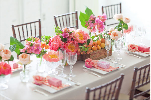 Stemz Floral Design, Coral Charm Peonies, Bougonvellia, Juliet Garden Roses, Apricots,