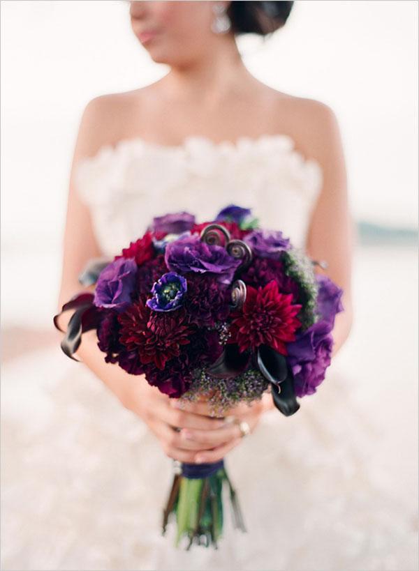 Gertie Maes Floral Studio, burgundy dahlias, purple anemones, calla lilies