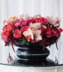 Hidden Garden, arrangement of garden roses and orchids