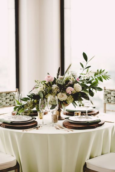 Maxit Flower Design, Joseph West Photography, Pink and White Flowers with Greenery in a Gold Compote Dish