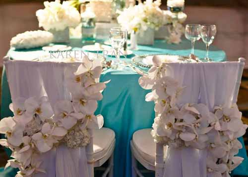 Karen Tran, Bride and Groom Chair backs with white orchids
