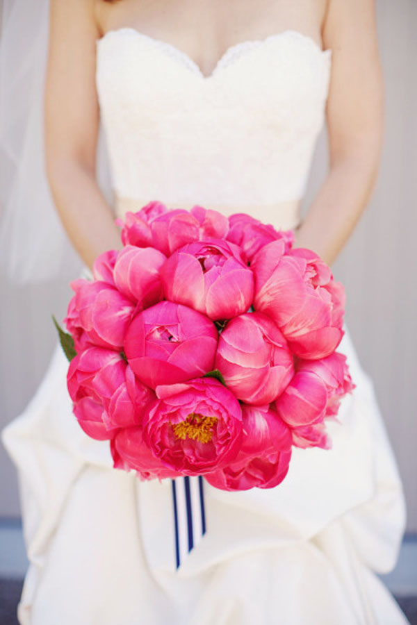 Laura Miller Design, bridal bouquet of coral charm peonies with blue and white striped ribbon