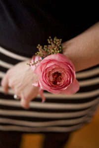 Bella Fiori, Wristlet Corsage of a garden rose and piers japonica
