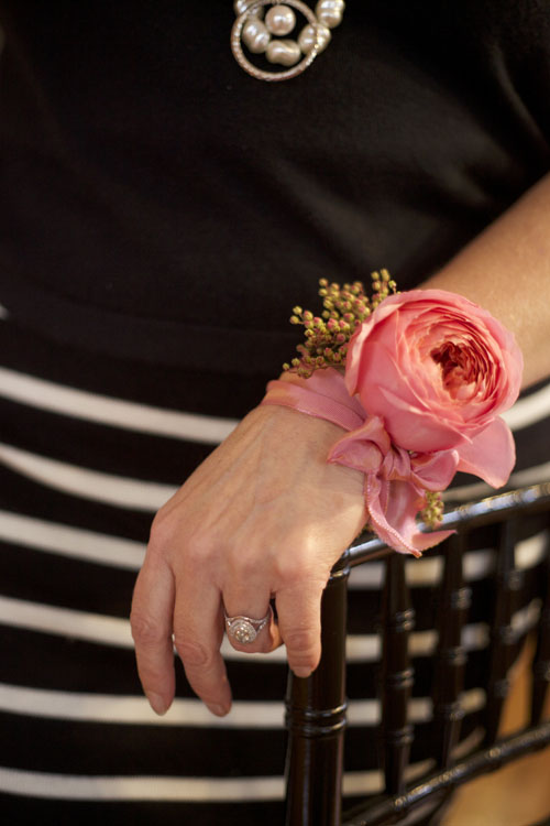 Bella Fiori, Ribbon wristlet corsage of pink garden rose and pieris japonica
