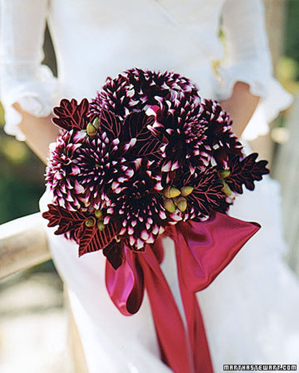 Martha Stewart, Burgundy with white tip dahlias