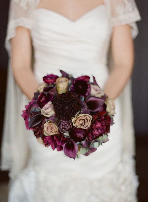 Mimosa Floral, bouquet of plum and burgundy flowers