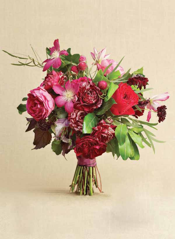 Nouveau Romantics Bridal Bouquet of red and pink garden roses and clematis