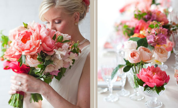 Stemz of Canada, Coral Charm peonies, bougonvellia, juliet garden roses