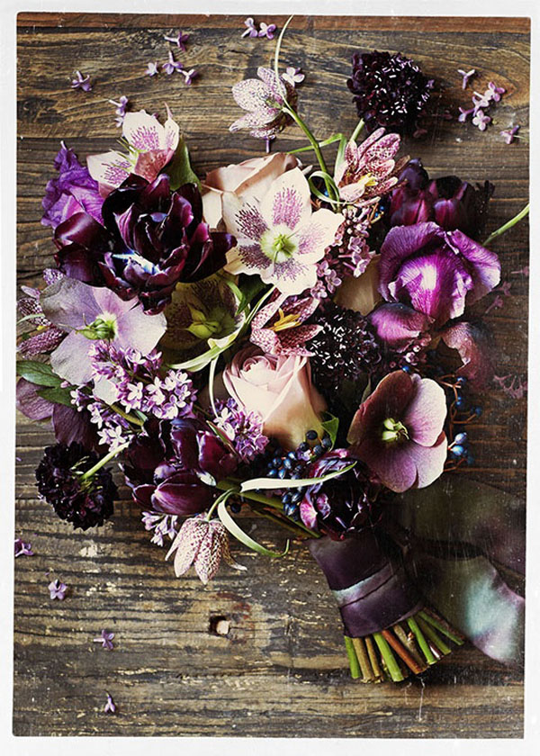 Sullivan Owen, lavender and plum bridal bouquet of hellebores and frittaliaria