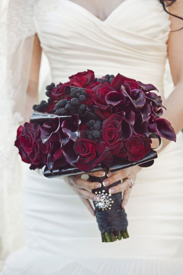 Tic Tock Flowers, hand tied bouquet of burgundy and plum callas and roses