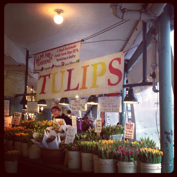 Pike Place Market in Seattle, Alm Hill Gardens display of Tulips