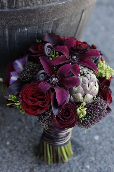 Twisted Willow Flowers, burgundy clematis, artichoke, roses