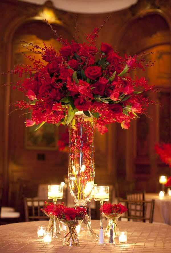 Wedding Flowers by Lisa Elevated Red Flower Centerpiece with tulips orchids and roses