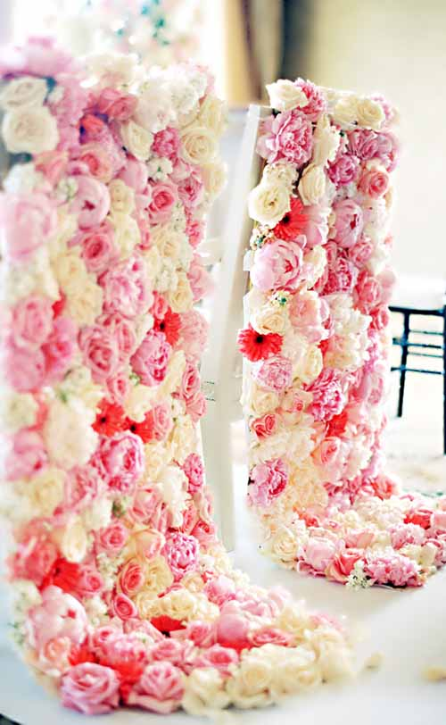 Pink and White Chair Decorations with flowers