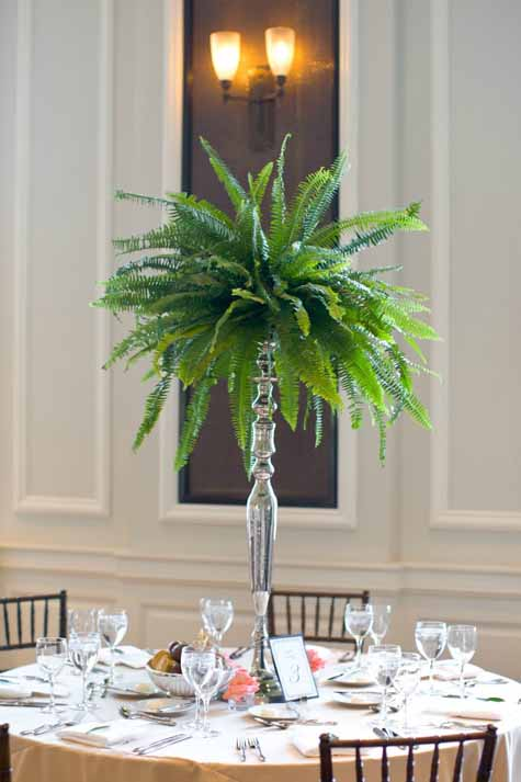 Sweetchic Events Dennis Lee Photo - Centerpiece of Ferns on silver candelabra