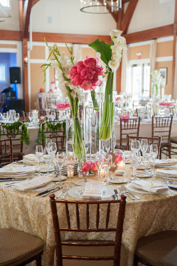 Brea McDonald Photography, Soiree Floral of Nantucket, Contemporary Centerpiece of coral charm peonies, large white calla lilies, white gladiolas.
