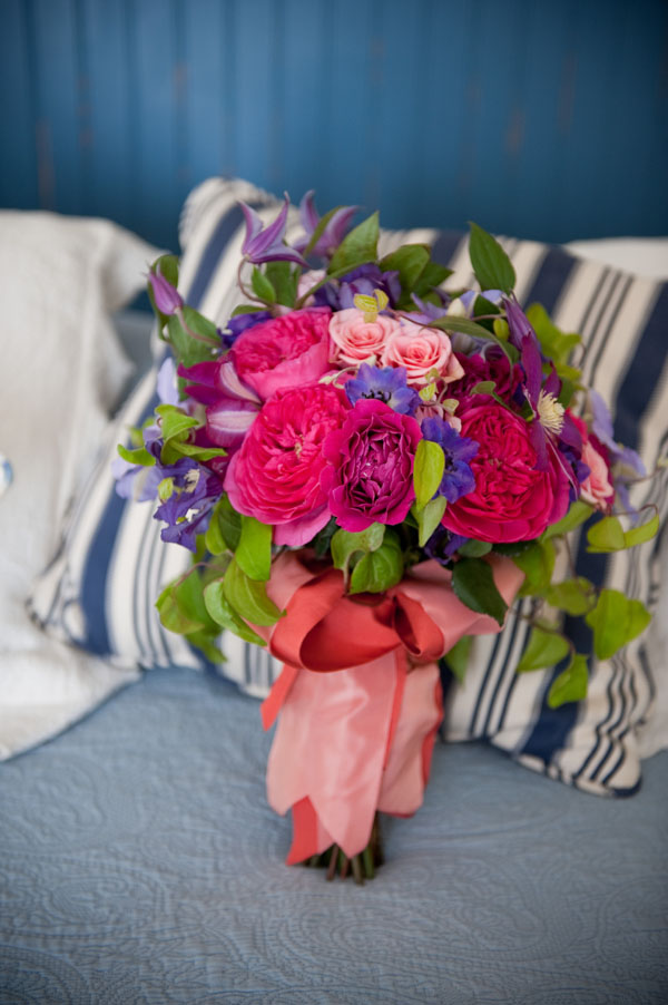 Emily Carter Floral Design - Bridal bouquet of hot pink garden roses, purple clematis, purple delphinium