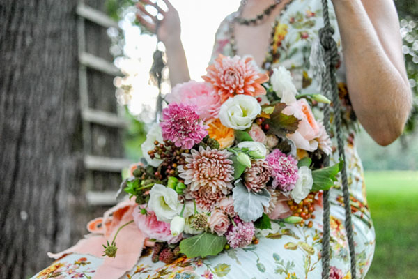 Emily Carter Floral Designer - Bridal bouquet of pink and peach flowers