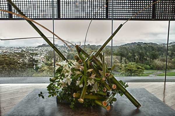 Bouquets To Art San Francisco, View from the de Young Hamon Tower. Floral design by Yoshiko Williams. Photograph © Greg A. Lato / latoga photography