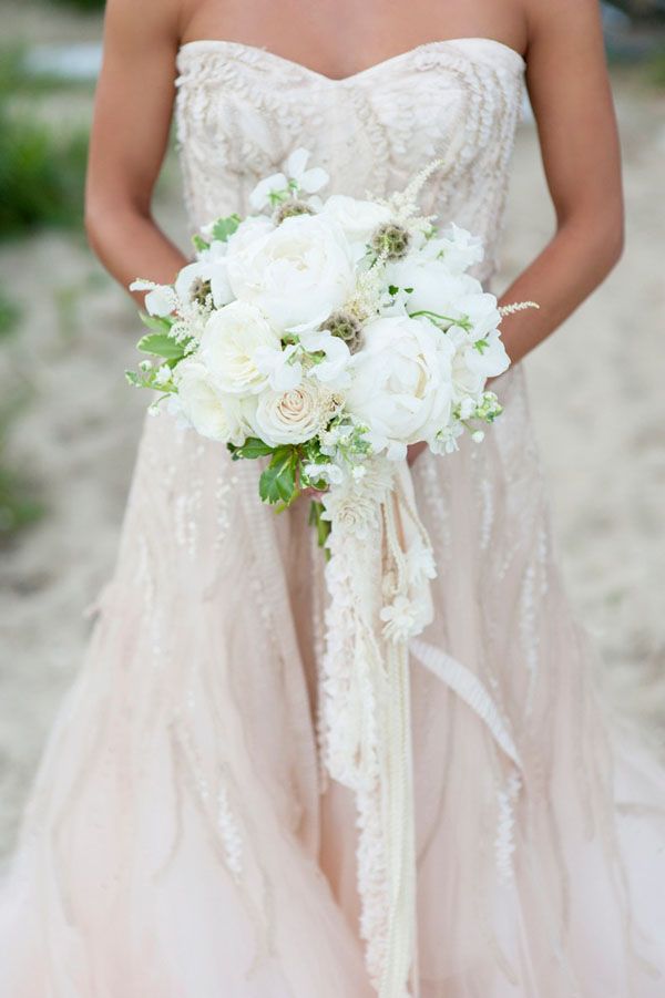 Nantucket Styled Shoot-Justin Marantz - Soiree Floral, Bridal Bouquet of white peonies, white roses, sweet peas and scabiosa pods.