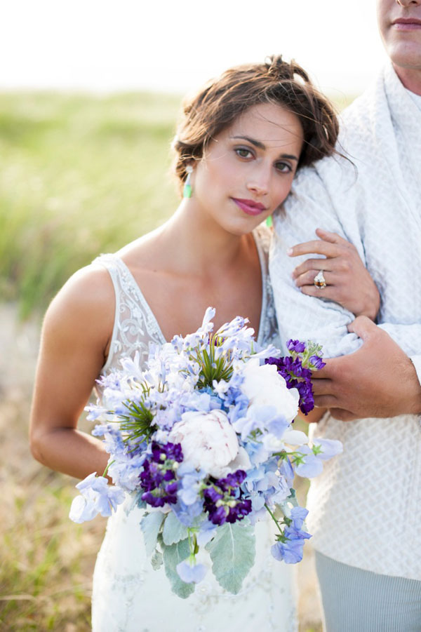 Nantucket Styled Shoot-Justin Marantz - Soiree Floral, Bridal bouquet of Purple Stock, agapanthus, peonies and sweet peas with dusty miller.