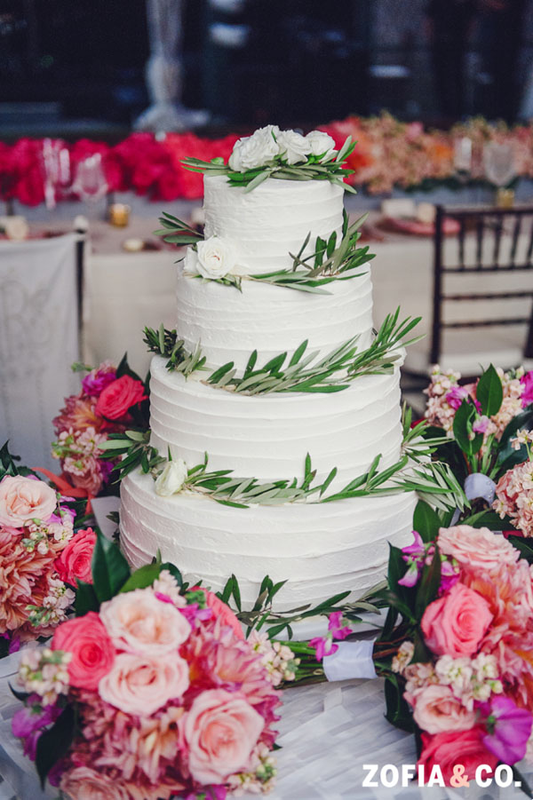 Zofia & Co Photography, Soiree Floral, Nantucket, Wedding Cake decorated with greenery