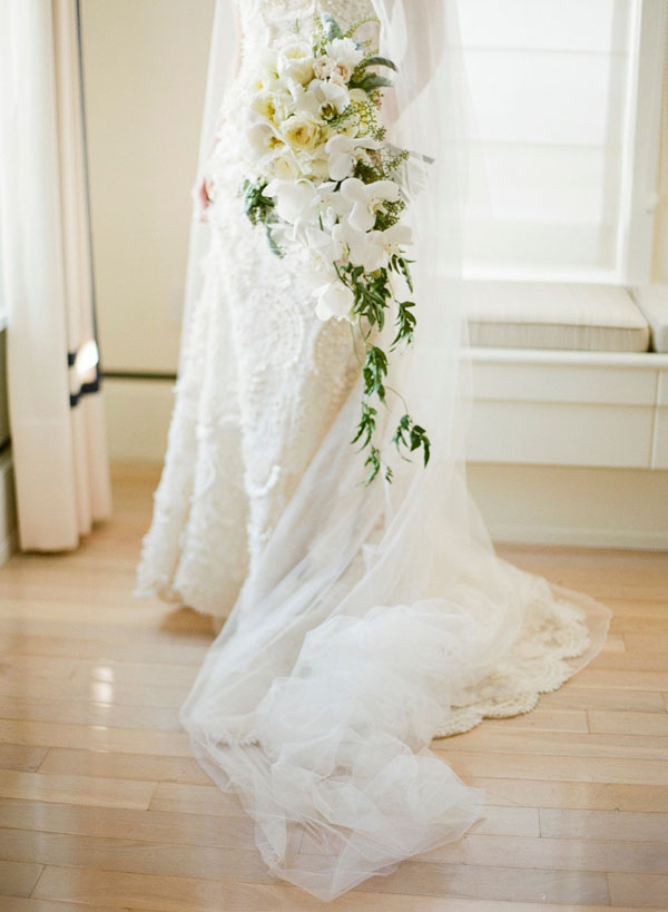 Jose Villa Photography and Soiree Floral of Nantucket, Cascading Bridal Bouquet of white garden roses and orchids