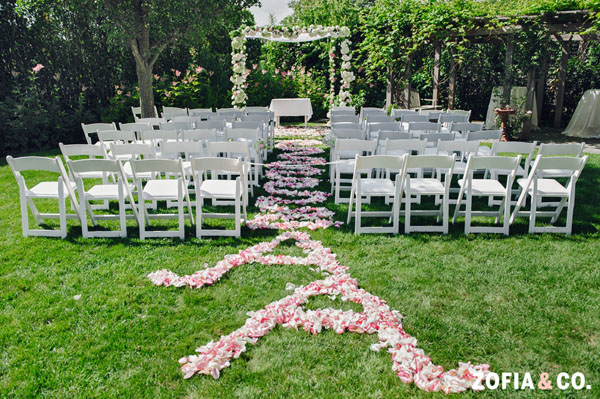 Zofia & Co Photography, Soiree Floral, Nantucket, Ceremony Aisle decorated with a petal design