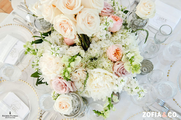 Zofia & Co Photography, Soiree Floral, Nantucket, Floral Centerpiece of peonies, garden roses, snapdragons, stock, hydrangeas