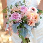 Verbena Florists Bridal bouquet of pinks, peaches and dusty miller