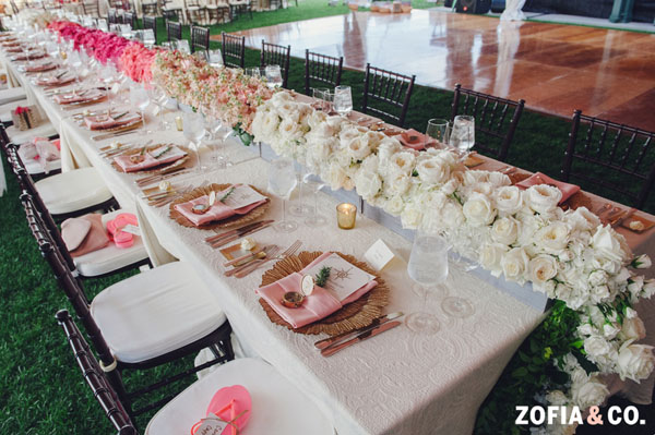 Zofia & Co Photography, Soiree Floral, Nantucket - Ombre color table runner of white and pink flowers
