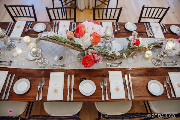 Zofia & Co Photography, Soiree Floral, Nantucket, Table Runner of driftwood, white and coral charm peonies