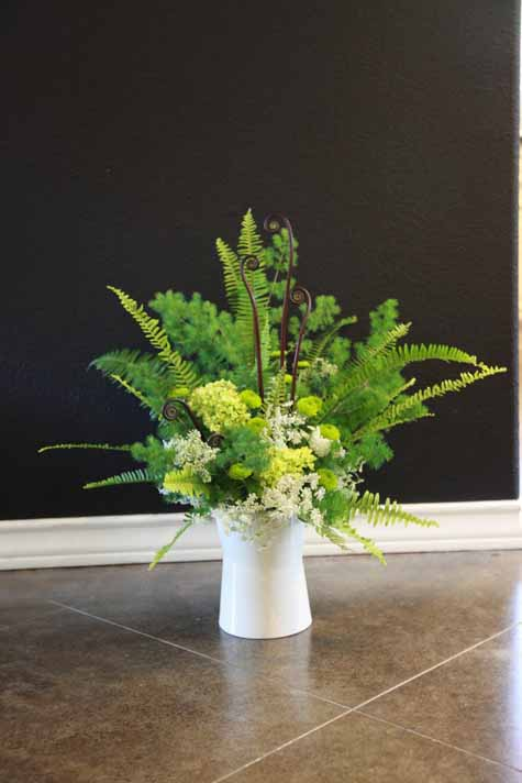 Luscious Flowers of Austin, flower arrangement of ming fern and sword ferns