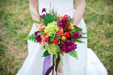 Urban Petals Jodi Byrnes Photograpy - bridal bouquet of green orange fuchsia flowers
