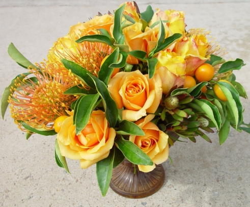 Bella Fiori, orange pincushion, roses and kumquats