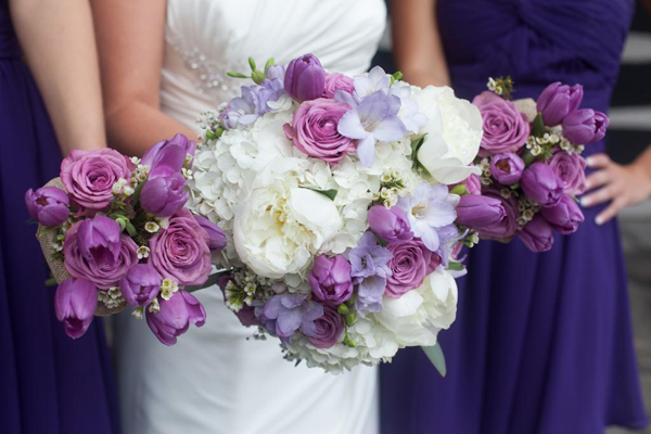 Blooms and Blossoms of Kentucky, white and lavender bridal party bouquets of tulips and peonies