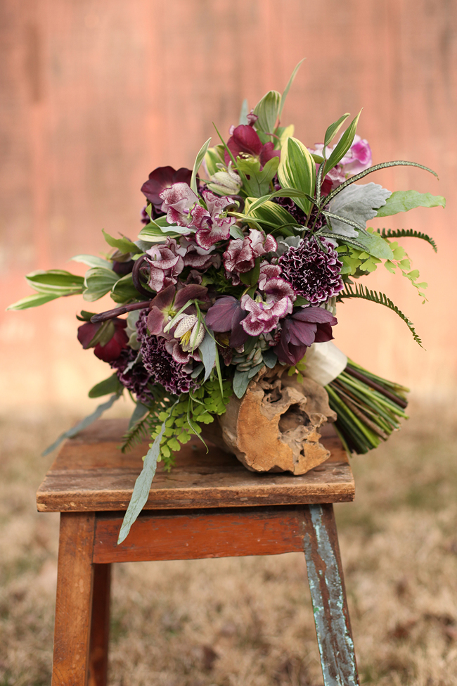 Floral Verde, Bridal bouquet of Burgundy Scabiosa, Burgundy Hellebores, Burgundy Sweet Peas, fritillaria, maiden hair fern, dusty miller, solomon's seal foliage