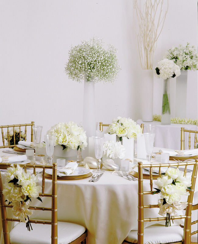Paula Pryke - All white wedding reception with peonies and baby's breath centerpieces