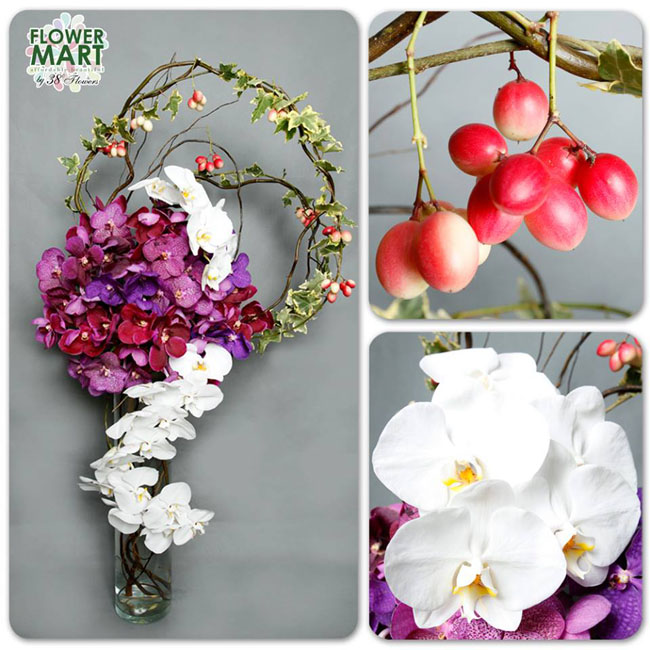 38 Degree Flowers Co., Modern Floral Design with purple, magenta and red vanda orchids, white phalaenopsis orchid