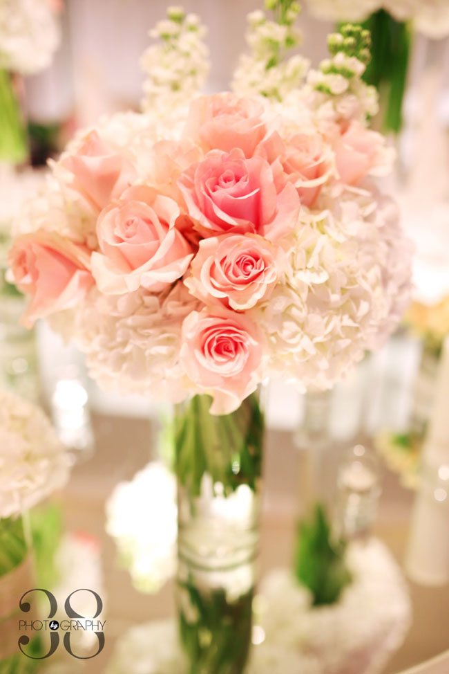 38 Degree Flowers Co, Centerpiece of white hydrangea and pink roses