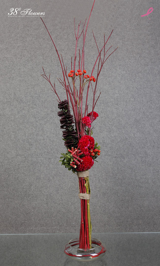 38 Degree Flowers Co - Contemporary Asian Floral Design with Red Dogwood twigs, red coxcomb, red rose hips