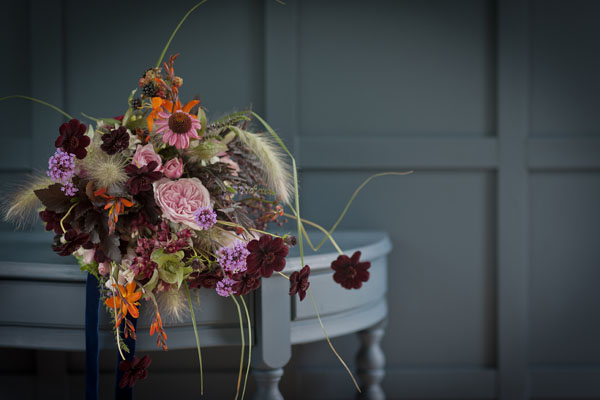 Jay Archer Floral Design, autumn inspired bouquet with chocolate cosmos, montbretia, pink garden roses