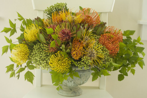 Bella Fiori, Yellow and Orange Pincushion proteas, berzillia berries and greenery