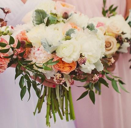 Sherry Donnelly of Gertie Mae's Floral Design, bridal bouquet white ranunculus, white peonies, light pink peonies, peach Juliets, poppy pods, dusty miller